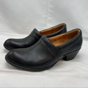 Born Black Leather Clogs with a 2 inch heel
